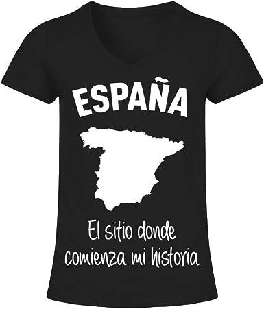 TEEZILY Camiseta de Pico Mujer España el Sitio Donde Comienza mi ...