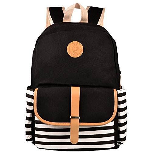 Canvas Backpack, Alotpower Cute School Backpack Casual Bookbags for Teen Girls(Black) (Stylish Bookbags)