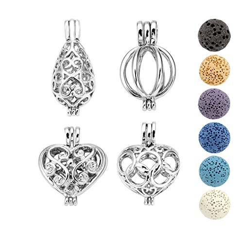 (JOVIVI Aromatherapy Essential Oil Diffuser Necklace Tiny Silver Plated Locket Pendant with 6 Dyed Lava Stone Beads)