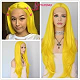 Yellow Color Natural Wavy Perruque Daily Makeup Synthetic Lace Front Wigs For Sale