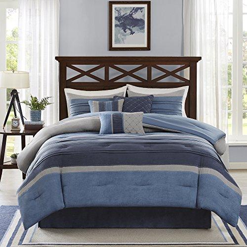 Madison Park Cozy Comforter Set Casual Modern Design All Season, Matching Bed Skirt, Decorative Pillows, Queen(90″x90″), Blue Grey, 7 Piece