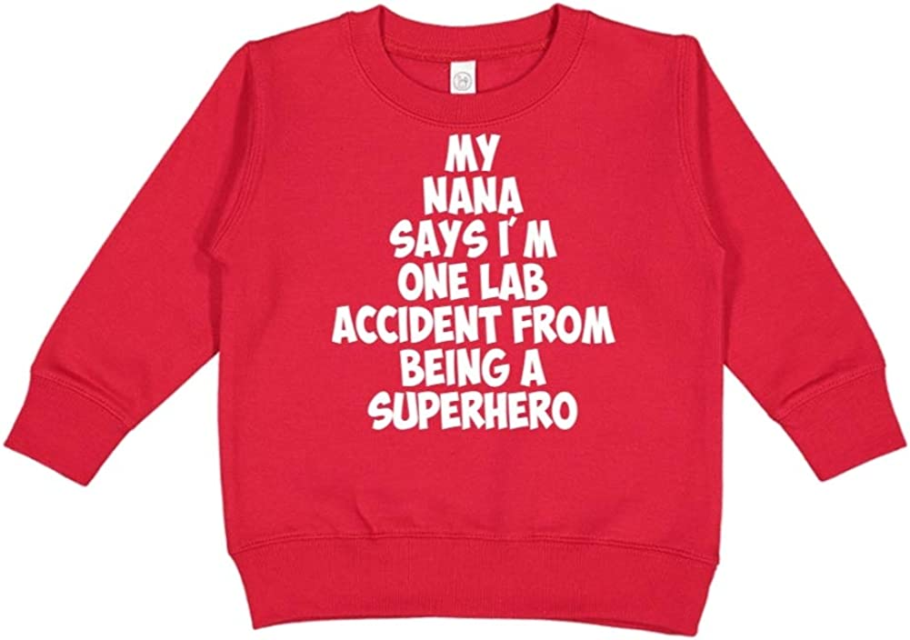 Toddler//Kids Sweatshirt My Nana Says Im One Lab Accident from Being A Superhero