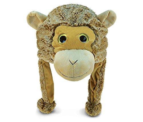 Puzzled Monkey Super-Soft Stuffed Plush Hat Cuddly Animal Toy -