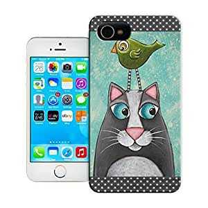 TYH - Unique Phone Case Folk Art Cat Bird PRINT of original mixed media painting Hard Cover for ipod Touch4 cases-buythecase ending phone case