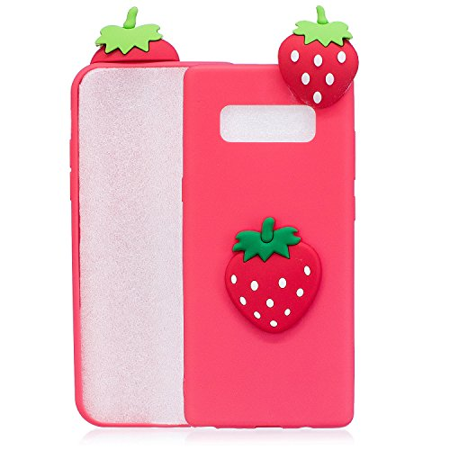 Price comparison product image Jewby Glaxy Note 8 Case,  Free Screen Protector,  Soft 3D Silicone Rubber Case Cover for Samsung Galaxy Note 8 (Strawberry)