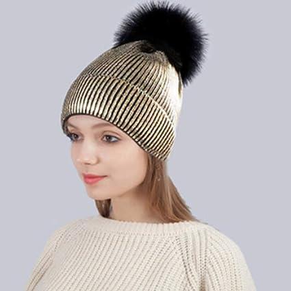 5d5a762eff6 Amazon.com  Dolland Glitter Warm Knit Hat Cap Winter Thick Beanie Hat  Slouchy Hair Ball Cap for Women Men