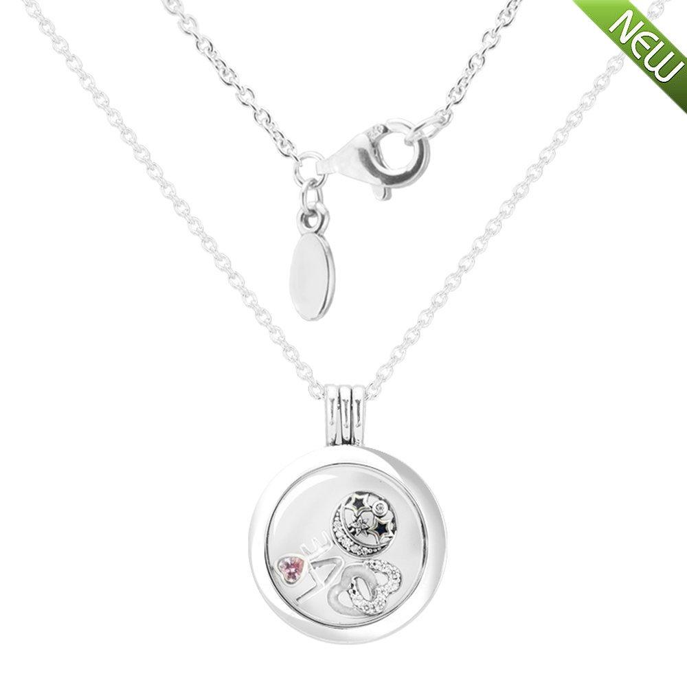 PANDOCCI 2017 DIY europäische 100% 925 Sterling Silber Liebe Medium schwimmende Locket Silber Halskette mit drei Petites Halskette Schmuck PAC8015