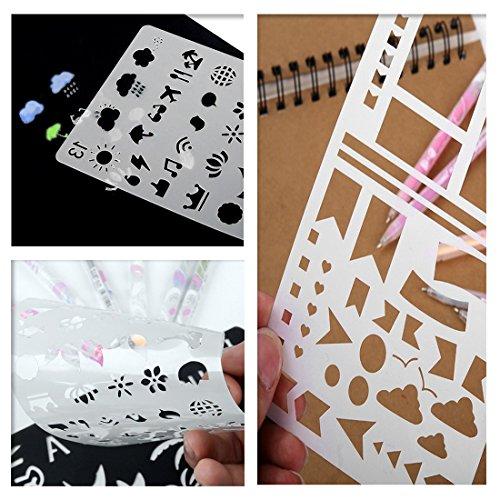 24 pcs Bullet Journal Stencil, Taotree DIY Drawing Template Stencil Set for Planner/Leuchtturm & Moleskine A5 Notebooks (24 pcs Bullet Journal Stencil)