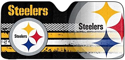 59.8 X 31.8 for Pittsburgh Steelers 210T Windshield Sunshade Fabric Block The Strong Sunlight and Ultraviolet Rays - for NFL Steelers Fans Keep The Car Cool Sun Visor Protection Easy to Use