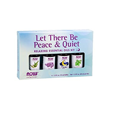 NOW Essential Oils, Let There Be Peace & Quiet Aromatherapy Kit, 4x 10ml Including Lavender Oil, Peppermint Oil, Eucalyptus Oil and Peaceful Sleep Oil Blend