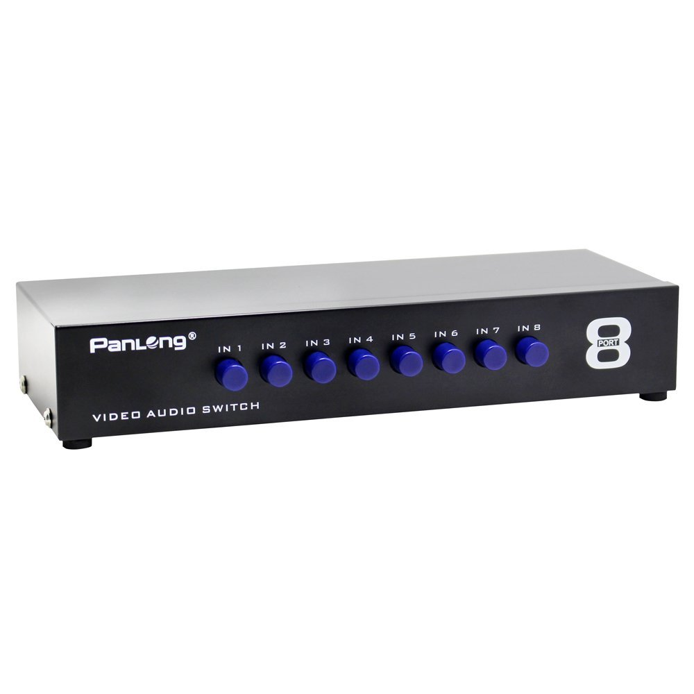 Panlong 8 Way Av Switch Rca Switcher In 1 Out Tutorial 3way Switches And 4way Composite Video L R Audio Selector Box For Dvd Stb Game Consoles Home Theater