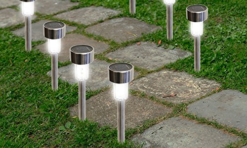 SolarEK Solar Powered Stainless Steel Outdoor Lawn Landscape Garden LED Path Lights (24 Pack) (Glass Roof Panels compare prices)