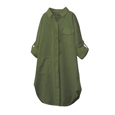 d8b230609 iYmitz Women Cotton Linen Casual Solid Long Sleeve Shirt Blouse Button Down  Tops(Army Green