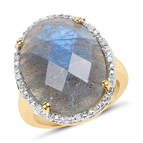 14K Yellow Gold 12.10 ct Genuine Labradorite & Accents Engagement Wedding Ring 14k Yellow Gold Labradorite Ring