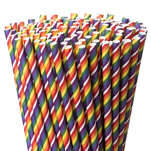 Paper Straws - Biodegradable Drinking Straws - 200-Pack Rainbow Color Pride Party Straws - Practical & Eco-Friendly - FDA Food-Grade Material - Ideal for Parties, Everyday Home Use]()