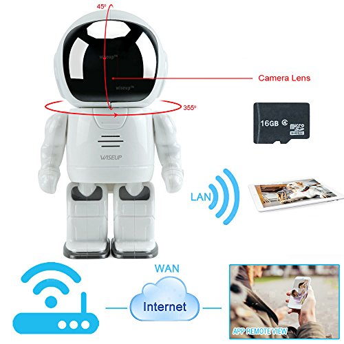 WISEUP 16GB WIFI IP Network Hidden Spy Camera Toy Robot Baby Monitor Pan Tilt Home Security Camera Support iPhone Android APP Remote View