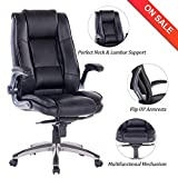 VANBOW High Back Leather Office Chair - Adjustable Tilt Angle and Flip-up Arms Executive Computer Desk Chair, Thick Padding for Comfort and Ergonomic Design for Lumbar Support
