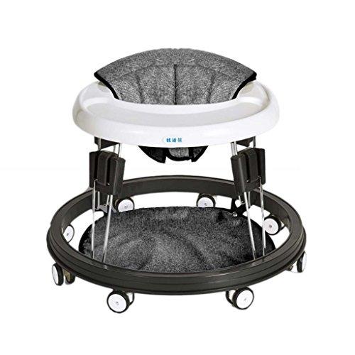 Baby Walker - Con Ruedas Multifunción Niño Anti-Rollover Bebé One-Touch Plegable Baby Walker Aprende A Manejar 3Rd Gear Ajustable,Gray