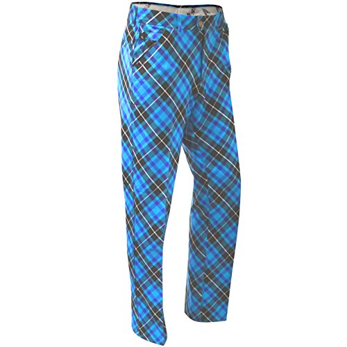 Royal & Awesome Men's Plus Size Golf Pants, Blue Plaid Trews, 40