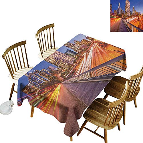 kangkaishi Oil-Resistant and Durable Long Tablecloth Kitchen Available USA Downtown City Skyline Over The Highway Los Angeles California Travel Destination W70 x L120 Inch Multicolor