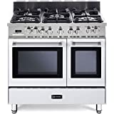 Verona VEFSGE365DW 36 Double Oven Dual Fuel Range 5 Sealed Gas Burners 2.4 cu. ft. Oven Capacity Storage Drawer Electronic Ignition Digital Clock and Timer: