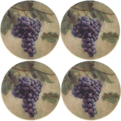 (Thirstystone Stoneware Grapes Coaster,)