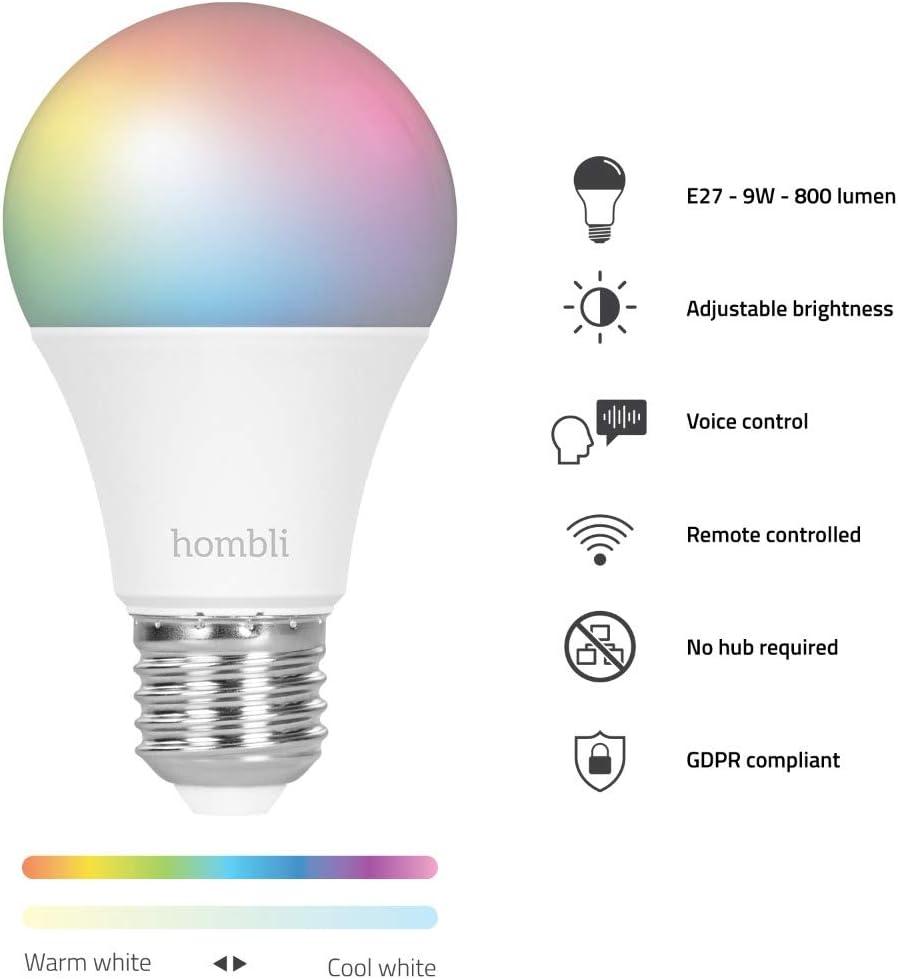 et IFTTT Ampoule Led Hombli Ampoule Smart| 9W E27 WiFi Smart 16 millions couleurs dimmable Google Home - Aliment/é par l/'application Hombli Smart Life compatible avec Alexa