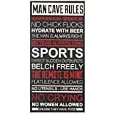 Young's Inc 22331 Man Cave Rules Wood Wall Plaque, 23.75-Inch