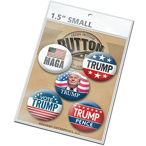 Pack of 5 Donald Trump for President Campaign Buttons 2016