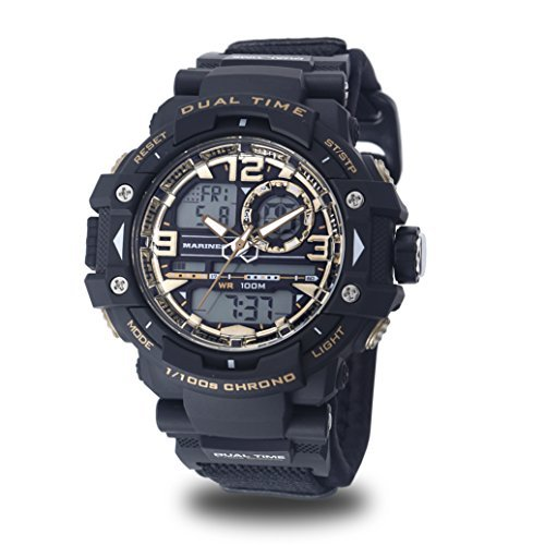 (Men's U.S. Army C41 Multifuntion Watch by Wrist Armor, Black and Gold Dial, Black Velcro Strap)