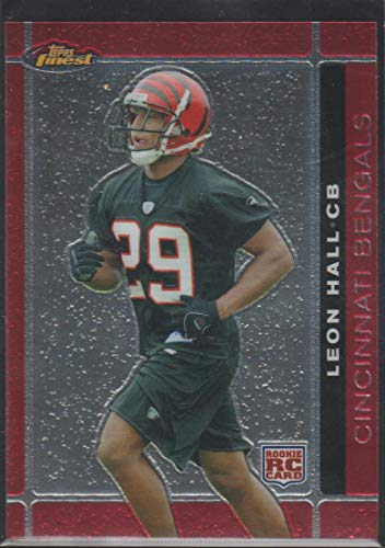 (2007 Topps Finest Leon Hall Bengals Rookie Football Card #145)