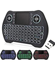 EASYTONE Backlit Mini Wireless Keyboard With Touchpad Mouse Combo and Multimedia Keys for Android TV Box HTPC PS3 XBOX360 Smart Phone Tablet Mac Linux Windows OS,New Model Mini Keyboard Touchpad Mouse…