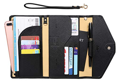 Zoppen Passport Holder Travel Wallet (Ver.5) for Women Rfid Blocking Multi-purpose Passport Cover Case Document Organizer Wrist Strap, Black