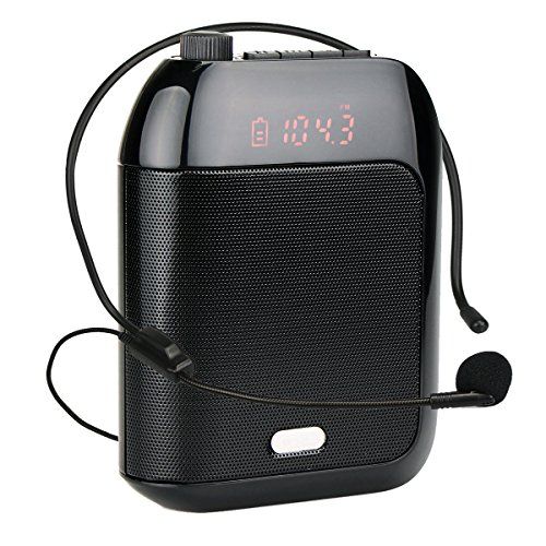 Retekess T9 15W Portable Voice Amplifier Rechargeable Mini With Wired Microphone Headset FM AUX In Jack MP3 Player Voice Recording for Teachers Coaches Training Fitness Class(Black) by Retekess (Image #10)'