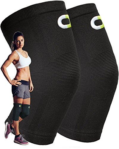 Knee Compression Sleeve (1 Pair) - Instant Knee Support Brace for Running, Sports, Jogging, Basketball - Meniscus Tear, Arthritis, Joint Pain Relief, Injury Recovery - Knee Sleeves for Men and Women (Knee Sleeve Sport)
