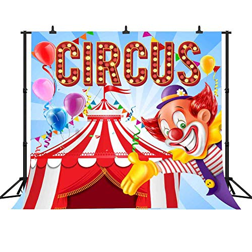 FHZON 10x10ft Circus Tent Clown Backdrops for Photography