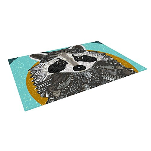 Kess InHouse Art Love Passion ''Raccoon in Grass'' Gray Teal Outdoor Floor Mat/Rug, 4 by 5' by Kess InHouse