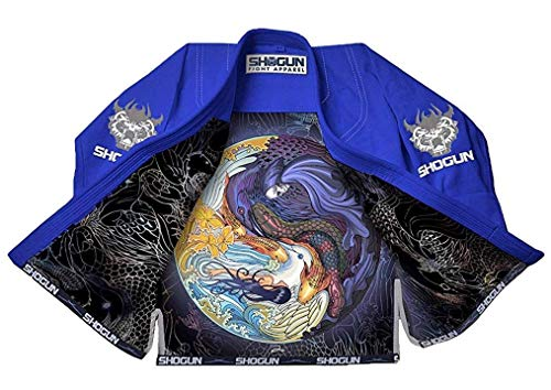 Shogun Fight Jiu Jitsu Gi Tao Premium 450g Pearl Weave Cotton BJJ blue, a4