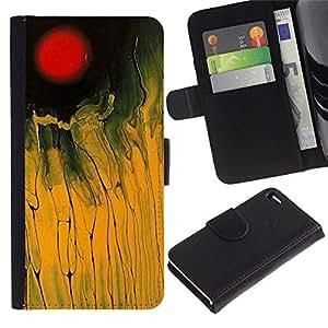 For Apple iPhone 4 / iPhone 4S,S-type® Red Yellow Field Black Abstract Painting - Dibujo PU billetera de cuero Funda Case Caso de la piel de la bolsa protectora