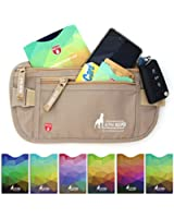 Money Belt For Travel with 1x Passport and 6x Credit Card Protector RFID Sleeves