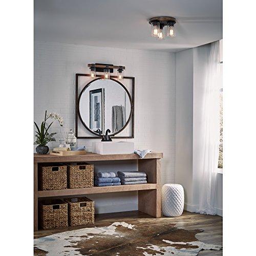 Bathroom Lighting Showroom In Ma: Kichler Lighting 3 Light Barrington Distressed Black And Wood Bathroom Vanity Light
