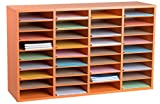 AdirOffice Wood Adjustable Literature Organizer (36 Compartment, Orange)