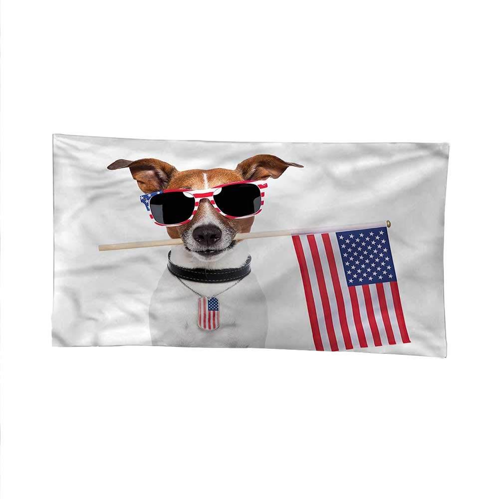 Dog Loverbeach Tapestry Wall hangingdorm Room tapestryAmerican Pet with Flag 93W x 70L Inch