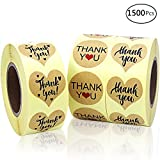 EOOUT 1500pcs Kraft Paper Thank You Adhesive Labels Thank You Stickers, Heart and Round, 3 Patterns