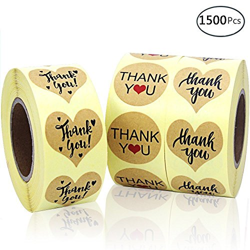 - EOOUT 1500pcs Heart Shape Thank You Stickers, Kraft Paper Thank You Adhesive Labels, Heart and Round, 3 Patterns