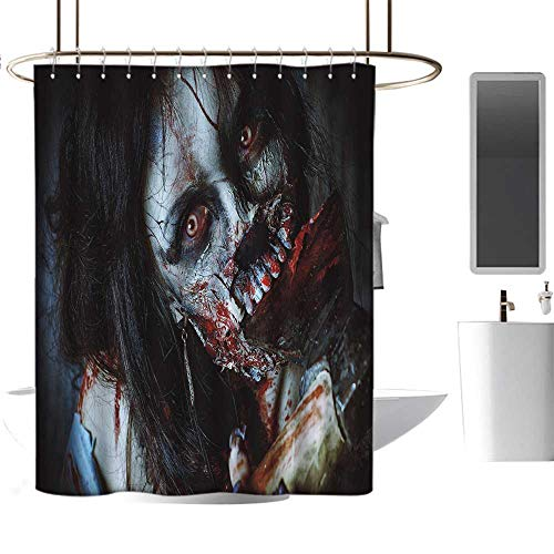 Waterproof Polyester Shower curtain36 x72 Zombie Decor,Scary Dead Woman with Bloody Axe Evil Fantasy Gothic Mystery Halloween Picture,Multicolor,3D Effect Bathroom Curtain Mildew Resistant ()