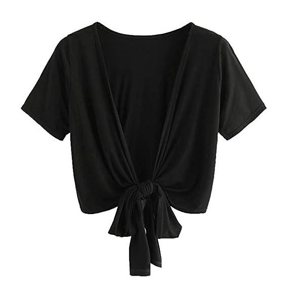 Mujeres Tops Rovinci Verano Camisa de Manga Corta con Cuello en V Blusa con Mujer Sexy