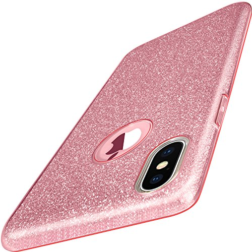 iPhone X Case, TOZO Shiny [Bling Crystal] Thin Glitter Sparkle [Support Wireless Charging] Premium Three Layer Hybrid TPU Soft Grip Cover Shell for Apple 5.8 in iPhone X/iPhone 10 - Pink