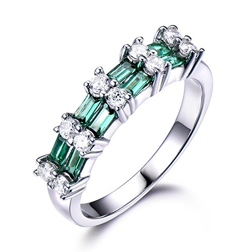 Lab Created Emerald 2 Layer Solid 14k White Gold CZ Diamond Unique Green Gemstone Wedding Ring Baguette