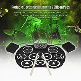 FidgetFidget Portable Electronic Drum Set Roll Up Drum Kit 9 Silicon Pads USB Powered B2D1